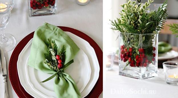 Новогодняя композиция с ягодами кизила